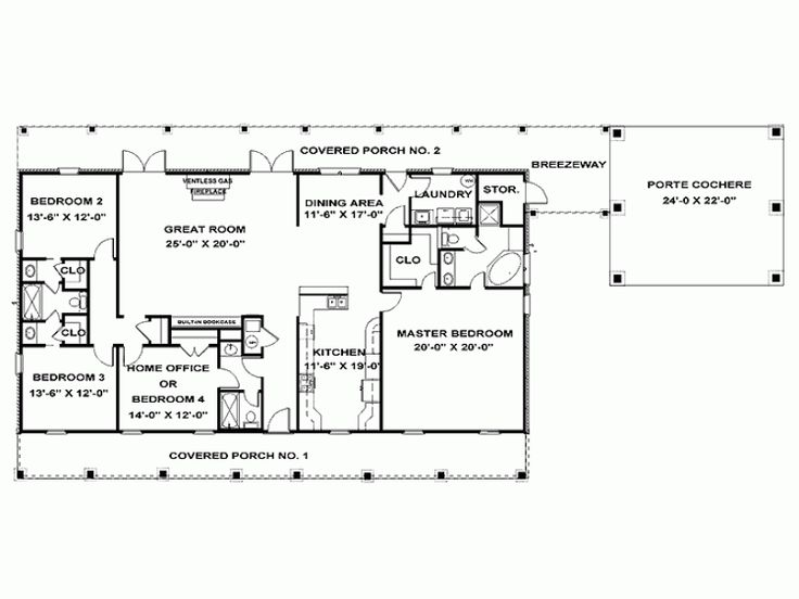 Eplans ranch house plan single story southern beauty - Single story four bedroom house plans ...
