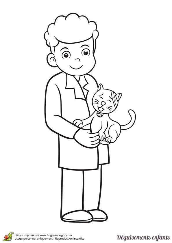 Coloriage et idée de déguisement pour Mardi gras, devenir vétérinaire pour soigner et aider les animaux, page 10 sur 24 sur HugoLescargot.com