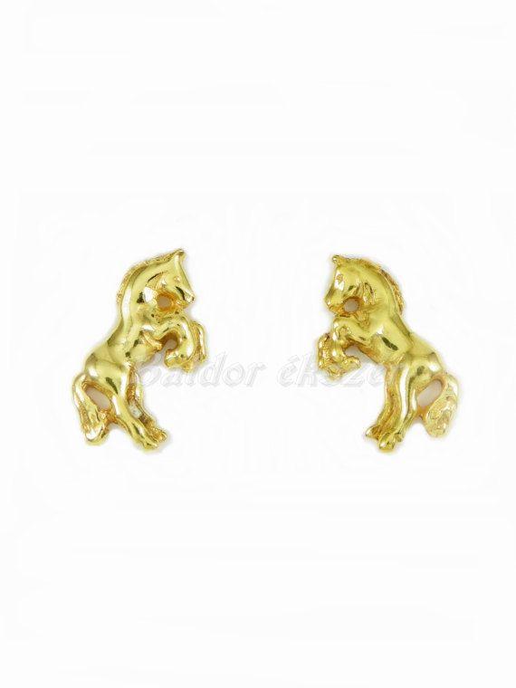 14K Horse Earrings by BaldorJewelry on Etsy