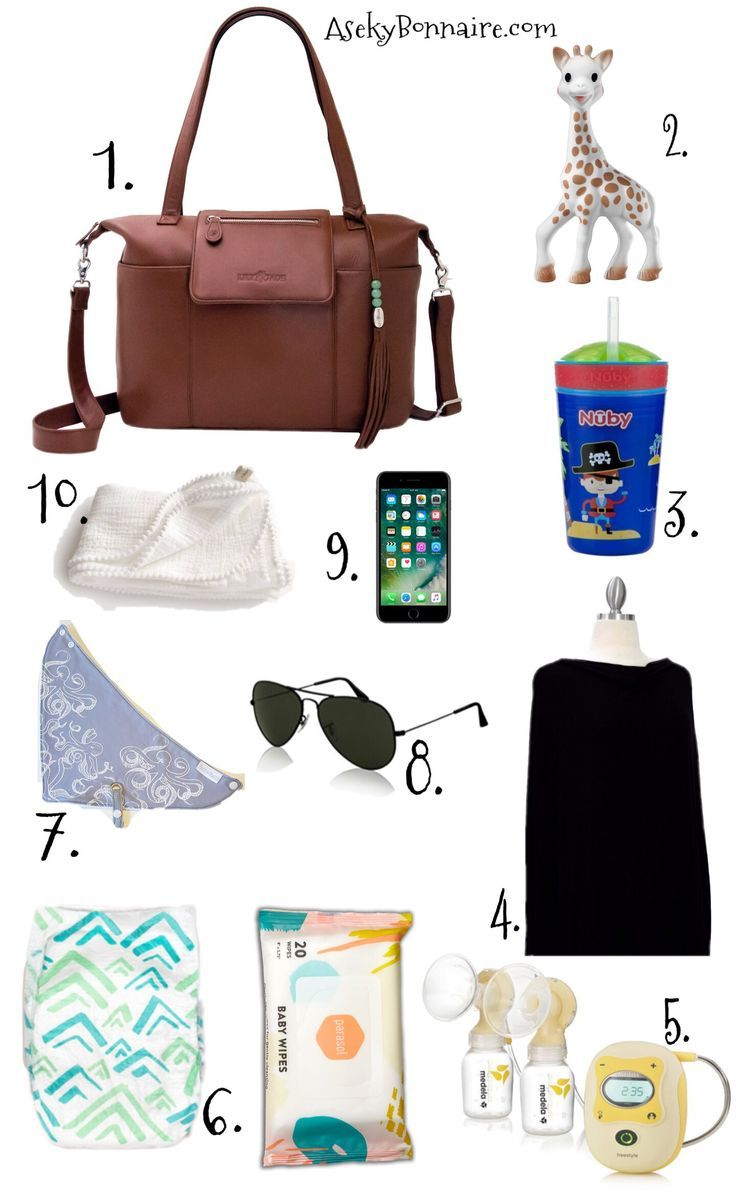 What to keep in your diaper bag. I am a mom to three boys, so when packing my Lily Jade diaper bag the third time around, I keep only the necessities. These are my top baby items to keep in my bag for on the go.   Bag: Lily Jade Madeline Bag in Brandy