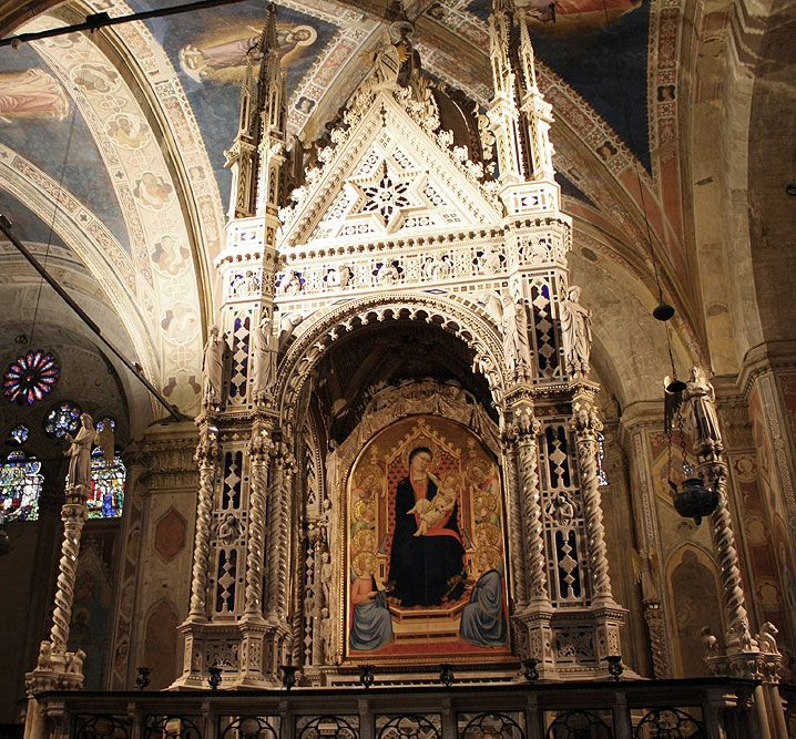 Orsanmichele Church and Museum - Florence. Tabernacle by Andrea Orcagna - c. 1359 Madonna by Bernardo Daddi - c. 1346