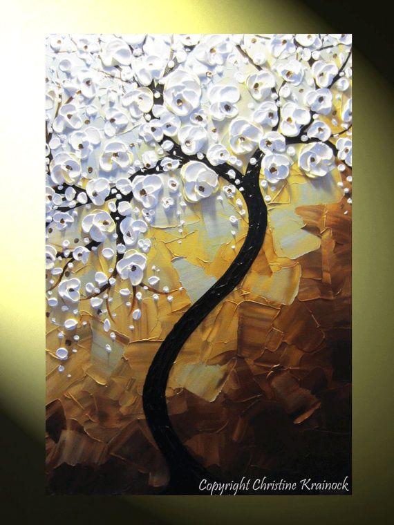 White Flowering Cherry Tree Painting, Original Contemporary Fine Art Abstract Palette Knife Paintings White Tree of Life, White Flowers Floral Landscape Home Decor by Artist Christine Krainock