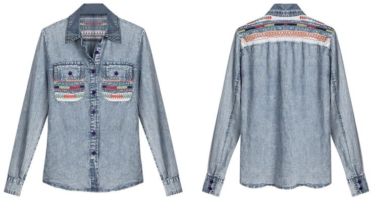 I love this shirt. I don't know why, it's just so cute. :o: July Moodbpard, Denim Shirts, Embroidered Denim, The Mode