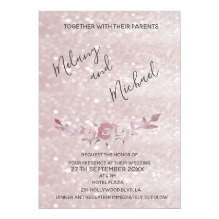 Glittery bokeh pale pink watercolor boho roses card - tap to personalize and get yours