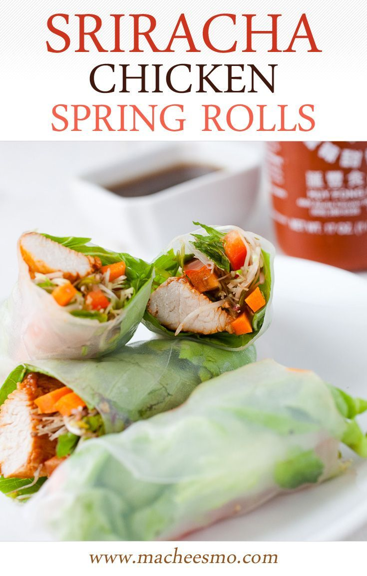 Sriracha Chicken Spring Rolls: A fresh and spicy spring roll that's substantial enough to make a meal out of, but also works great as an appetizer!