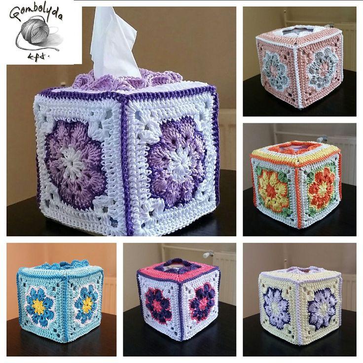 Horgolt papírzsepi tartó (crochet tissue box)