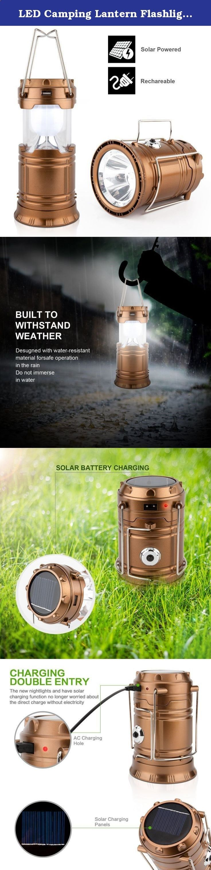 LED Camping Lantern Flashlights - Hurricane Emergency Tent Light - Backpacking, Hiking, Fishing,  Outdoor Lighting Bug Out Bag Camping Equipment | Portable, Compact,  Water Resistant Gift (Golden). Specification 1.TWO Power Supply: Environmental friendly solar powered charging,DC 5V(power). 2.MULTIPURPOSE:Suitable for indoors  outdoors, Hiking, Camping,Fishing,Emergencies, Hurricanes, Outages,Backpacking. 3.The lamp is collapsible and portable, offering you convenience when you need it...