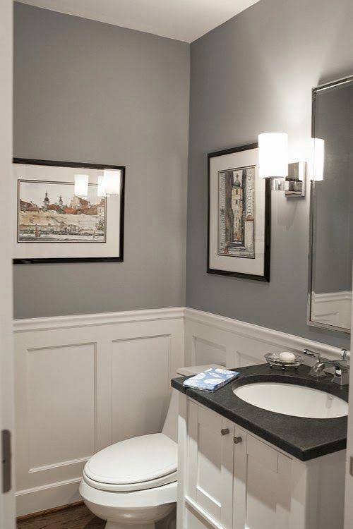Small Modern Powder Room Pikes peak grey Benjamin moore #bathroom