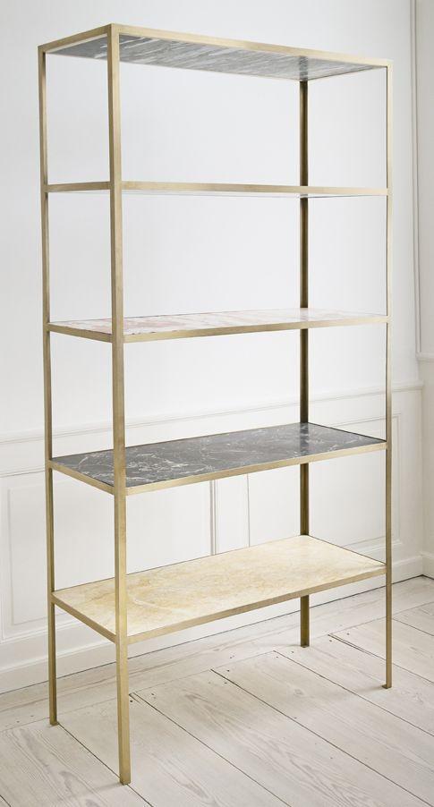 muller van severen, belgium, shelves in different marble sorts and brass rack