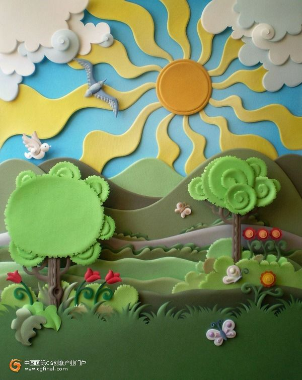 quiet book inspiration - I like the swirls as leaves and clouds - Paper Art by Brazilian artist Carlos Meiras
