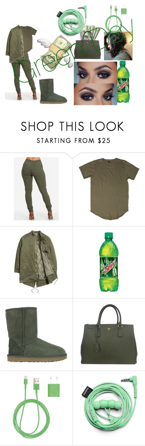 """""""Green Day🎾🍏💚💚💚💚✅✅✅✅"""" by mayflowers9 on Polyvore featuring UGG Australia, Prada, PhunkeeTree and Urbanears"""