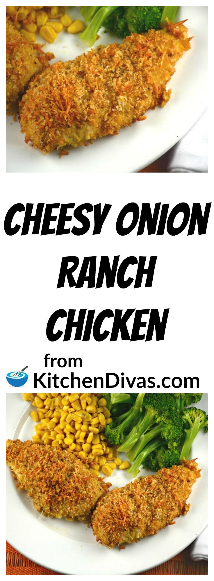 This chicken recipe is delicious! Cheesy Onion Ranch Chicken is an easy way to prepare and serve chicken breast any night of the week!