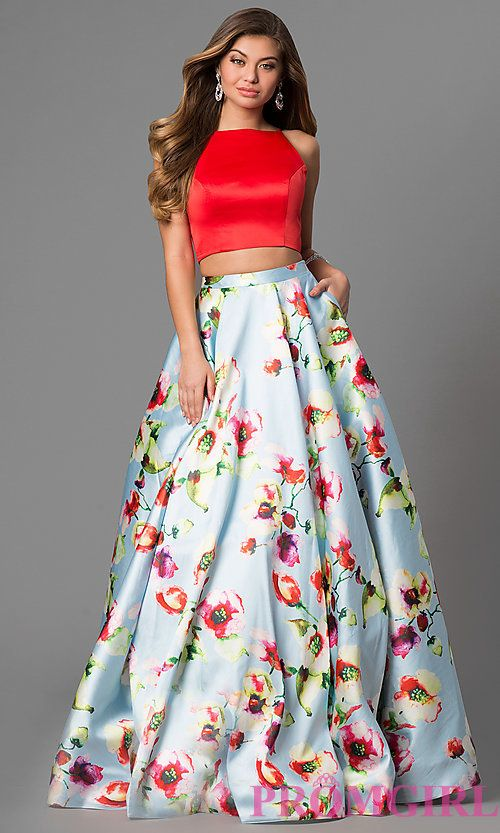 Two-Piece Floral Print Prom Dress with Pockets