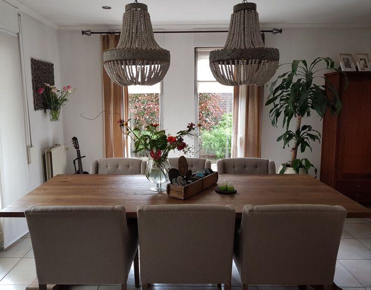 Onze woonkamer. Lampen zijn van PTMD. Kloostertafel en stoelen van Lifestyle Passie.