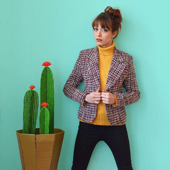 Vintage 80s shoulder padded single button colorful tweed jacket