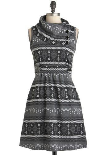 Coach Tour Dress in Winter, #ModCloth  Love this print but bought the Spearmint version of this dress on sale instead.