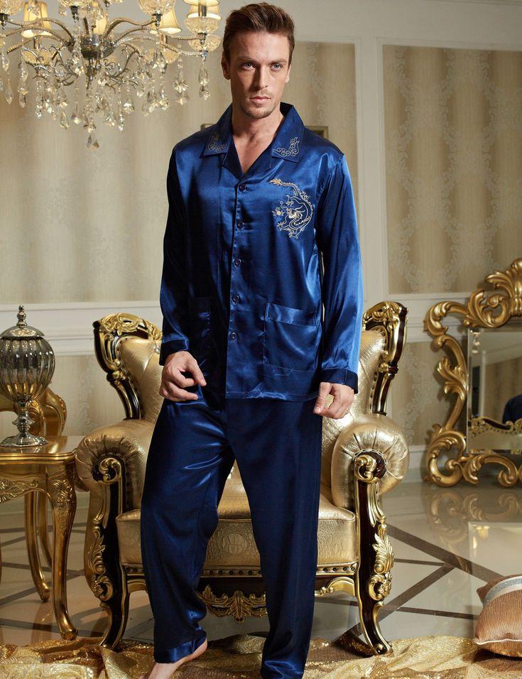 2017 Spring Men Pajama Sets Imitation Silk Full Sleeve Sleepwear V Neck Button Casual Blue Pijamas Masculinos 3313 Bule Color