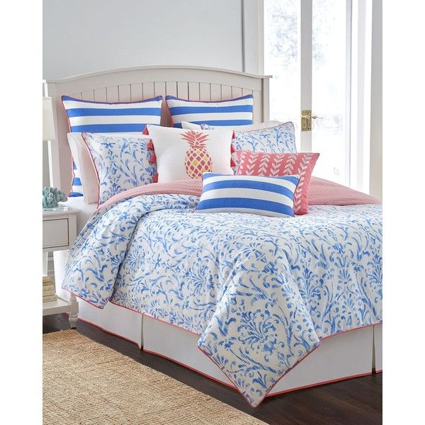 Southern Tide King Coastal Ikat 3-Piece Comforter Set ($245) ❤ liked on Polyvore featuring home, bed & bath, bedding, comforters, cool water blue, blue king size comforter, ikat comforter, blue comforter, king size pillow shams and coastal bedding