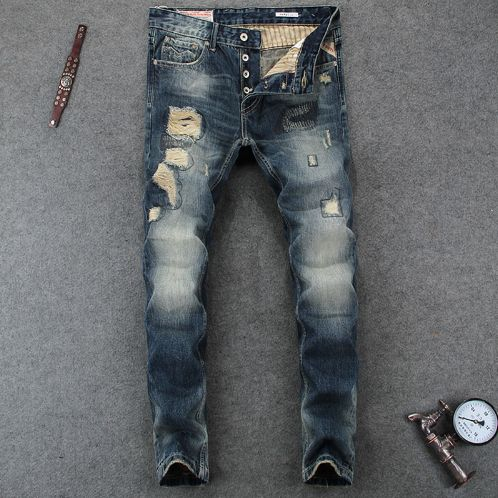 Italian Designer High Quality Slim Fit Stripe Destroyed Ripped Jeans Mens Pants Size 29-38