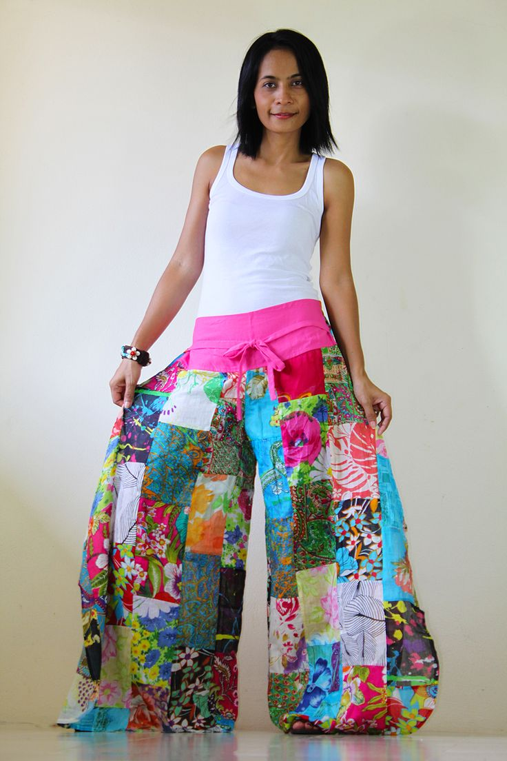 Creative idea - use the top of sweatpants for the waistline and drawstring, but then attach patchwork palazzo legs.  Genius.