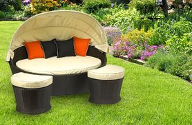 £399 for a Royalcraft 3-piece outdoor rattan daybed set (from Gardenchic) with 2 footstools & cushions