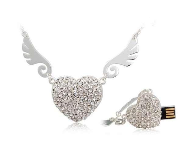 Angel Heart Jewelry Memoria USB Flash Drive 64GB USB 2.0 Pen Drive 512GB Mini Usb Memory Stick Pendrive 128GB 16GB 32GB Gift