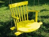 Make a kids swing by using an old rocking chair