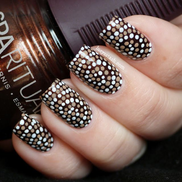 Dotted Swirl nail art: three colour nail art brown base with small copper brass and white spots in circular pattern!