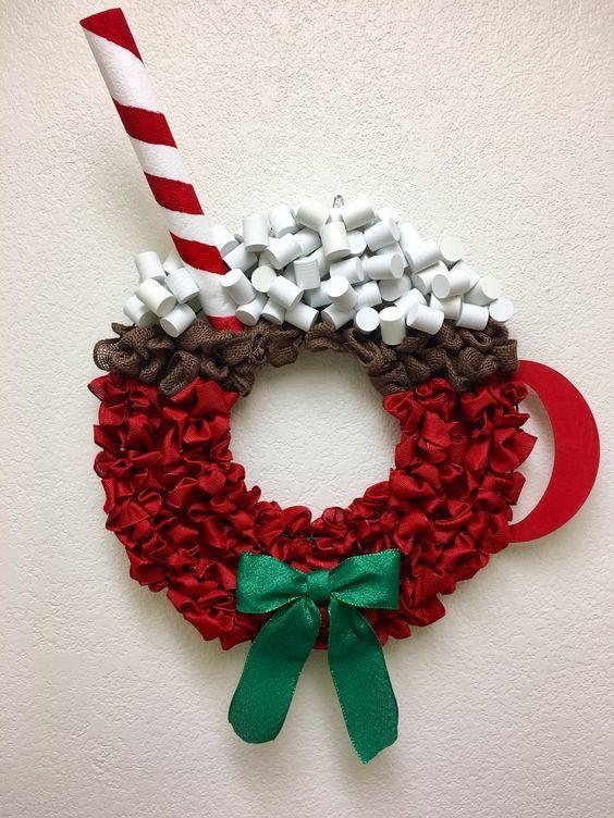 Hot Chocolate Wreath Christmas Mesh Wreaths Christmas