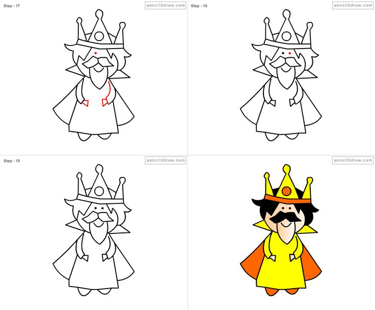 how to draw a king step by step for kids