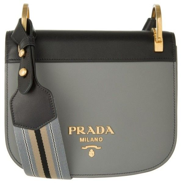 Prada Pionniére Bag City Calf Marmo/Nero in grey, black, Shoulder Bags (£1,379) ❤ liked on Polyvore featuring bags, handbags, shoulder bags, striped tote bags, prada handbags, gray tote bag, shoulder handbags and grey tote