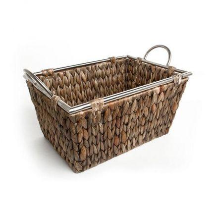 Tray Hyacinth Rect. w/Metal Rim 38x27x19mH Copper