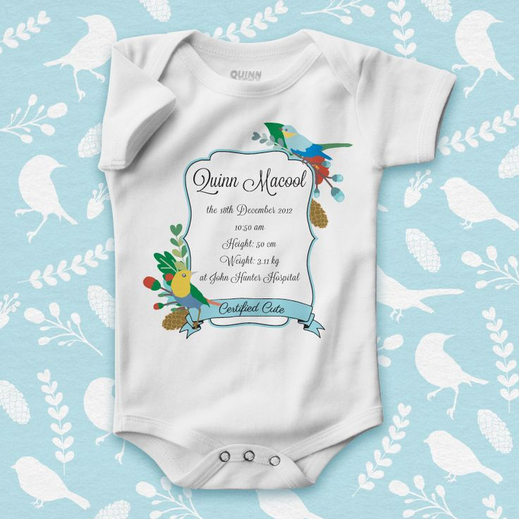 custom print baby romper, personalised baby gift, new baby