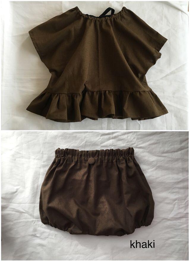 ♡おめかしセットアップ♡かぼちゃパンツと裾フリルトップス(ダンガリー受注開始!