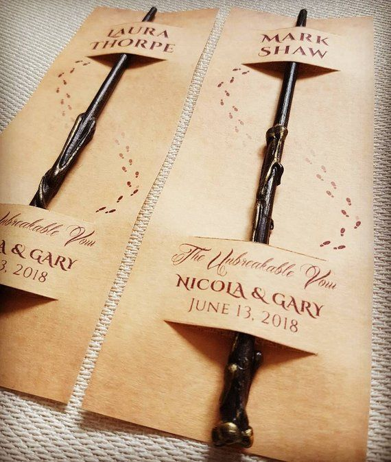 Harry Potter Inspired Wand for Wedding Party Placecard Namecard Favour – Personalised