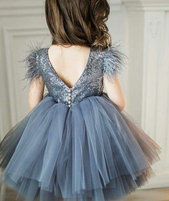 8f701480997a Dusty Blue Sequin Feather Sleeve Dress  Kids Fashion  Girls  Holiday ...