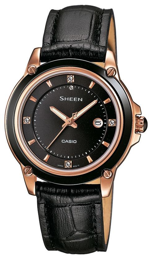 Casio Sheen, SHE.4507GL-1AER. Swarovskistener, dato og keramisk bezel.