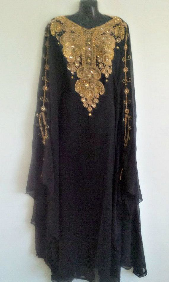 Egyptische godin Black Farasha Caftan goud verfraaid door Jywal