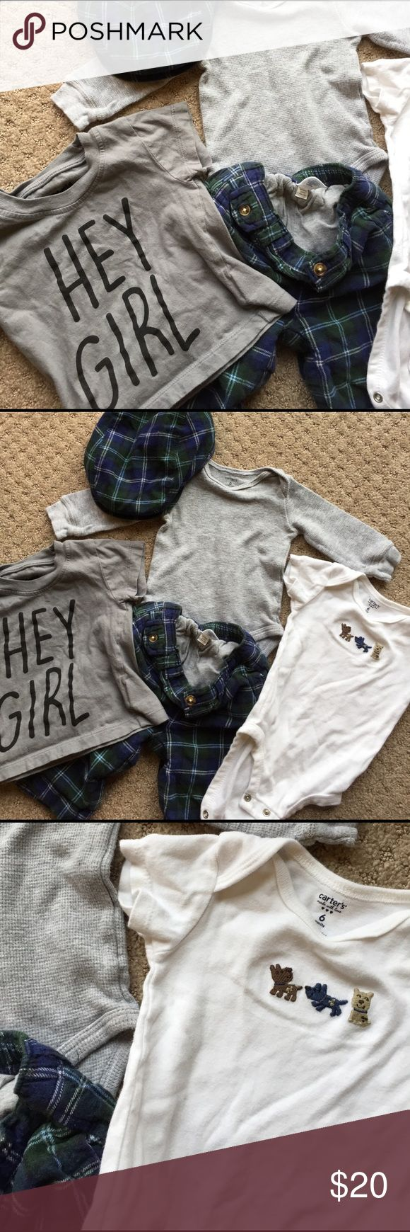 "Irish lad green and blue boys 6-12 month 5 piece set includes: 6 month carters onsie with dogs, 6 month thermal carters shirt, 6-12 month baby gap blue and green plaid pants with pockets and matching newsboy hat, 12 month freeze for kids ""hey girl"" tee shirt GAP Matching Sets"