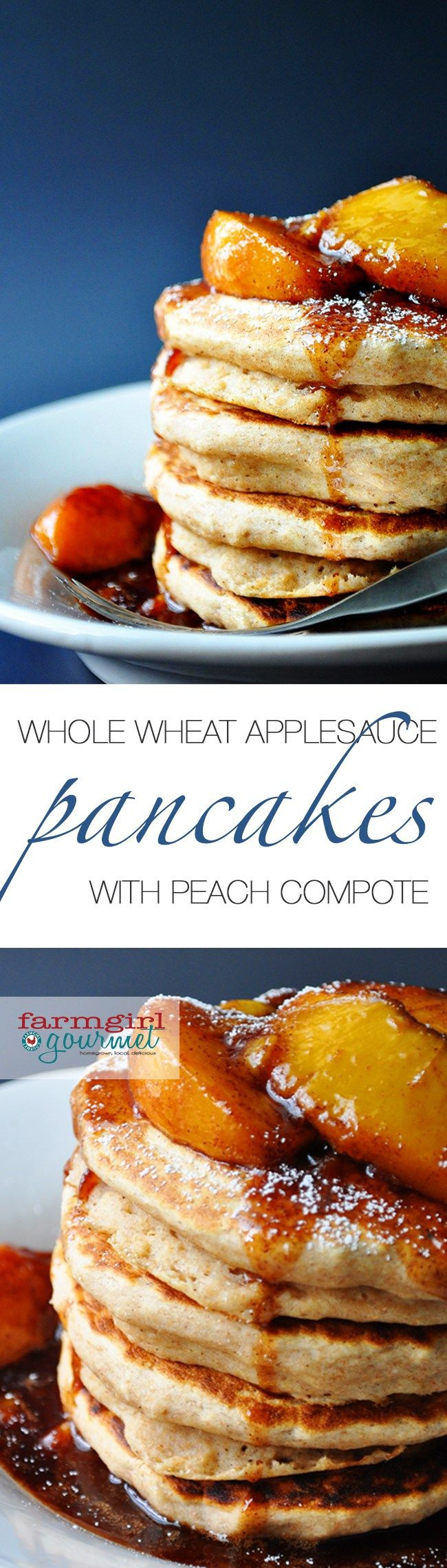 Easy to make whole wheat applesauce pancakes with a fresh peach compote. Make your family happy with a stack of these today!