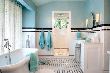 10 Gorgeous Black And White Bathrooms|Houzz --- Wall color is Benjamin Moore's Heavenly Blue with a stippled glaze.
