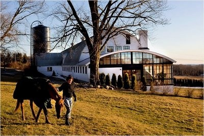 Roxbury, Connecticut Barn - Converted into a expansive home with stables sits on a hill overlooking the Northwest hills.
