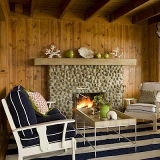 beach decor cabin fireplace