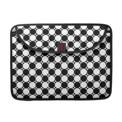 Black and White Polka Dots MacBook Sleeve by elenaind