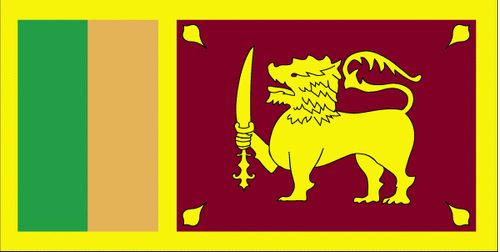 The Sri Lanka flag is yellow with two panels; the smaller hoist-side panel has two vertical bands of green and orange; the other panel is a large dark red rectangle with a yellow lion holding a sword, and there is a yellow bo leaf in each corner.