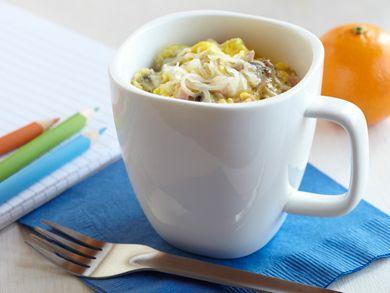 Ham, Mushroom and Swiss Coffee Cup Scramble | mrfood.com