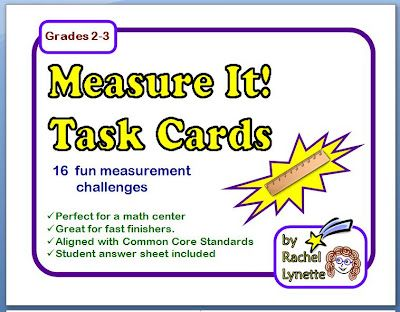Free Measurement Task Cards plus a great collection of more free measurement resources!