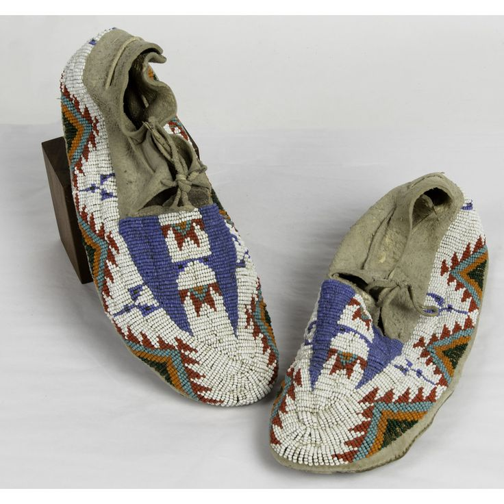 Cheyenne River Sioux Beaded Hide Moccasins Made by Sophie High Elk Garter (ca 1917-1994)