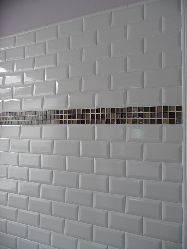 white subway tile with mosaic glass band accent kitchens