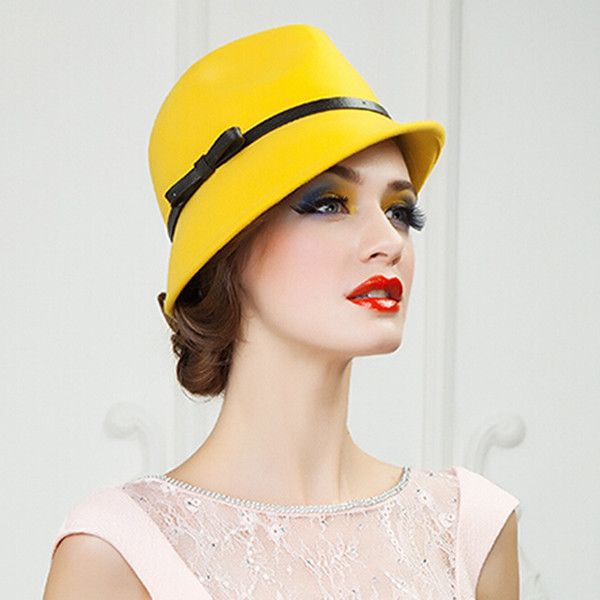 Yellow wool fedora hat for women leather bow felt hats trilby ❤ liked on Polyvore featuring accessories, hats, trilby fedora, wool fedora, fedora hat, yellow fedora and wool cap